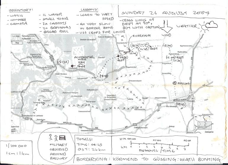 (3) Χάρτης για Ουγγαρία (Kormend) και Αυστρία (Gussing), Αύγουστος 2007 , Heath Bunting (φωτ. παραχώρηση του καλλιτέχνη)